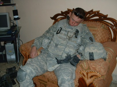 PVT Fuller after being up for nearly 36 hours, drooling on himself